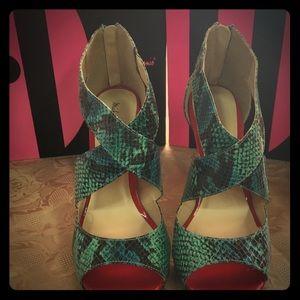 Elegance Teal Snake Heels